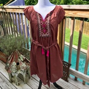 MAEVE FOR ANTHRO Brown Peasant Dress with Tassels